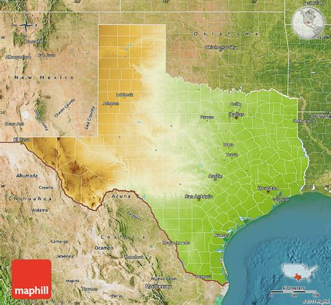 physical texas map physical map of texas satellite outside