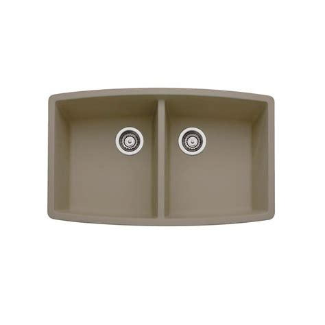 Composite Undermount Kitchen Sinks Blanco Performa Undermount Granite Composite 33 In Equal Basin Kitchen Sink In Truffle