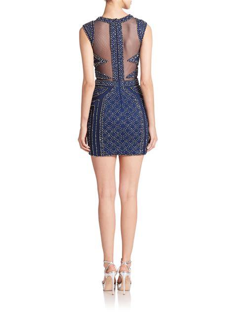 beaded blue dress jovani beaded mesh detail dress in blue navy lyst