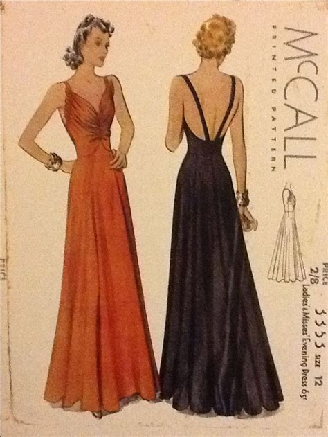 dress pattern ruching 1930s evening gown bodice ruching low back mccall 3353