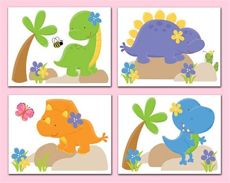 Dinosaur Nursery Decor Wall Art Prints Baby Girl T Rex Dinosaur Nursery Decor