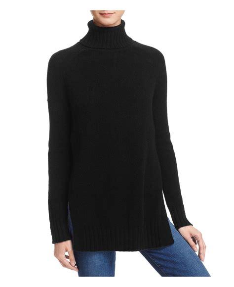 Turtleneck Side Slit Sweater aqua side slit turtleneck sweater in black lyst