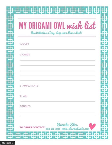 list of origami what s your s day origami owl 174 wish list print
