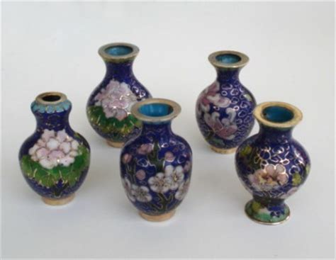 vintage lot 5 japanese cloisonn 233 miniature vases doll