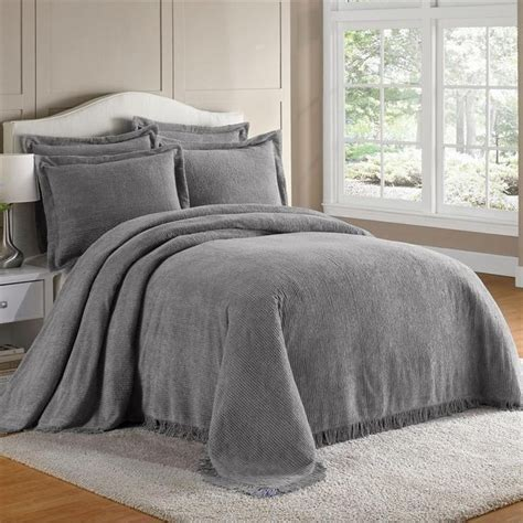 chenille bedspreads  gray details  king  cotton chenille fringed bedspread bedding
