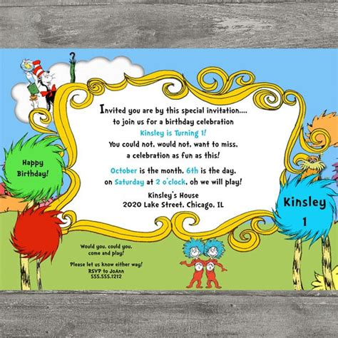 printable lorax invitations dr seuss cat in the hat lorax birthday party