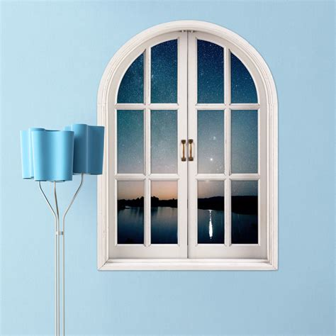 home decor 3d stickers starry sky 3d artificial window view pag wall decals lake