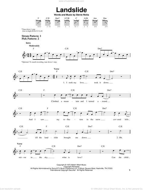 Mac - Landslide sheet music (easy) for guitar solo (chords