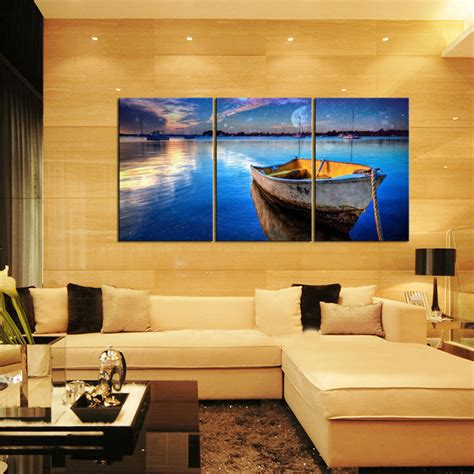 home decor painting canvas prints home decor wall art painting blue sea boat