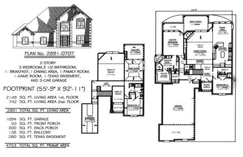 two story house plans with basement lovely 2 story house