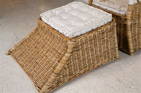 wicker chair ottoman covered italian wicker chair and ottoman at 1stdibs