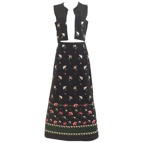 Cp Black Rayon Print Oscar Fashion3 1970s embroidered knit vest and maxi skirt set for sale at 1stdibs