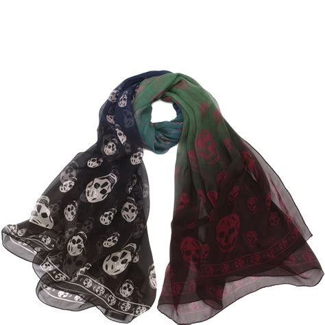 mcqueen degrade skull scarf in blue lyst