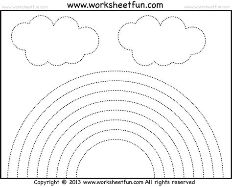 Rainbow Worksheets by Rainbow Tracing And Coloring 4 Preschool Worksheets