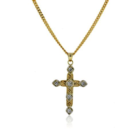 14k yellow gold cross pendant on chain