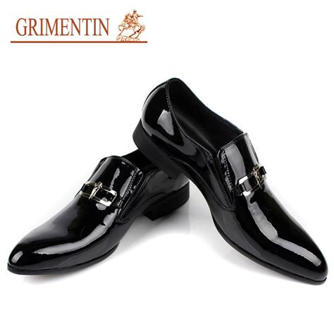 luxury italian mens patent leather shoes slip on genuine