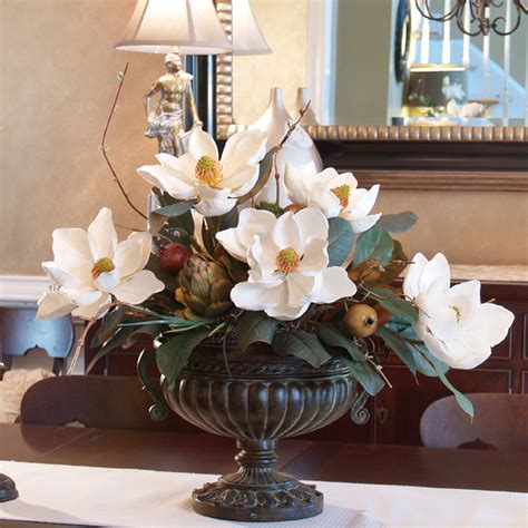 home decor centerpieces silk flowers white magnolias with artichoke centerpiece