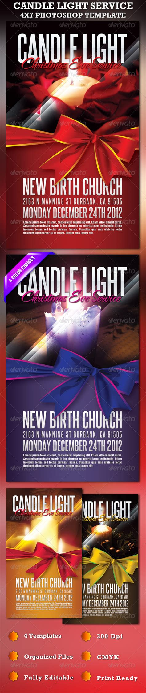Candle Light Service Church Flyer Template By Loswl Graphicriver Lights Flyer Template