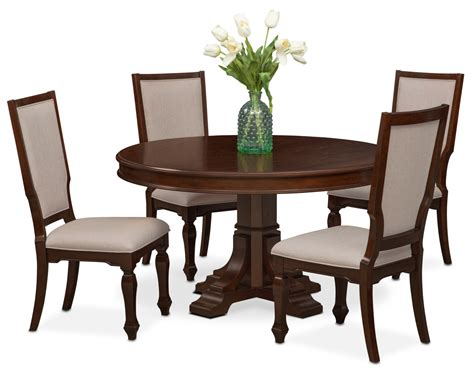 Circular Dining Table For 4 Vienna Dining Table And 4 Upholstered Side Chairs Merlot American Signature Furniture