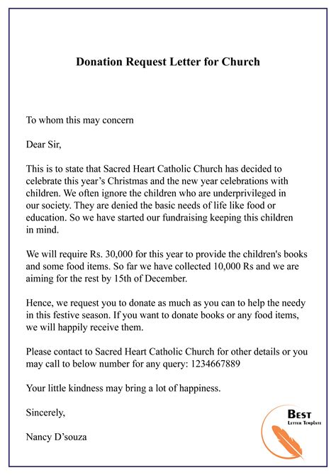 donation request letter church letter template