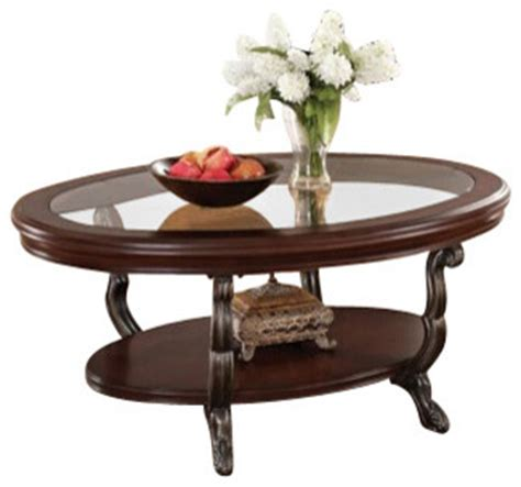 Oval Shaped Coffee Tables Bavol Cherry Finish Wood Oval Shaped Coffee Table With Glass Insert Traditional Coffee