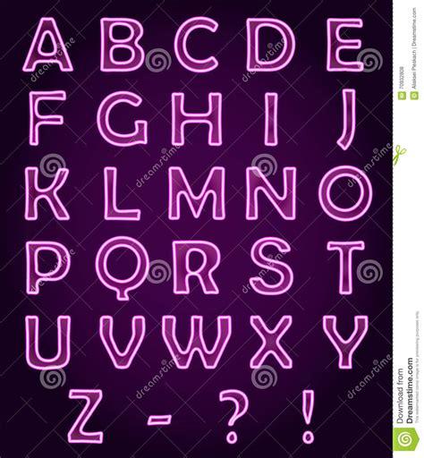 neon light letters font neon light letters alphabet abc vector font stock vector