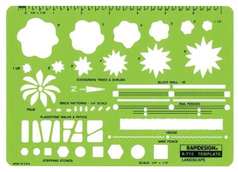 Rapidesign R 715 Landscape Design Drafting Template Stencil Garden Design Drawing Templates