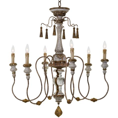 Distressed Chandeliers Adelia Country Distressed Rustic 6 Light Chandelier Kathy Kuo Home