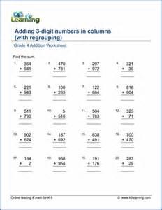 grade 4 addition worksheets free amp printable k5 learning