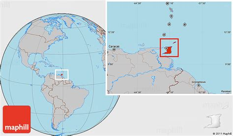 and tobago on the world map gray location map of and tobago
