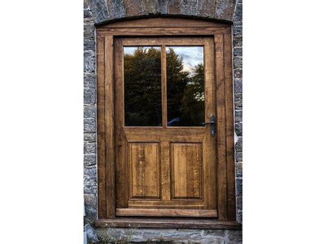 large oak gunstock half glazed insulated exterior door