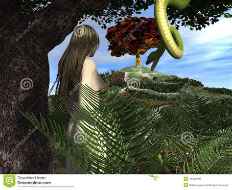 serpent tempts eve   garden  eden stock