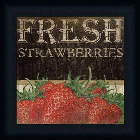 printable poster decor fresh strawberries kitchen d 233 cor fruit vintage sign framed