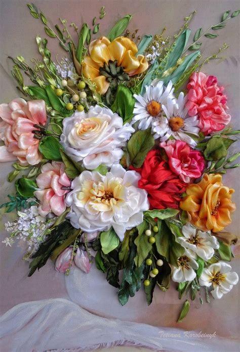 fiori ricamo ricamo quot vaso con i fiori quot silk ribbon embroidery
