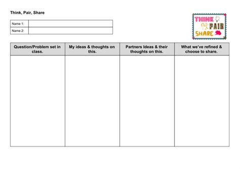 think pair template think pair worksheet by tips4teaching teaching