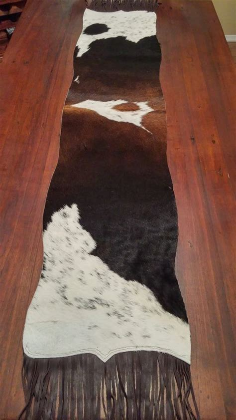 Tri Colored Brazilian Cowhide Table Runner By Cowhide Table Runner