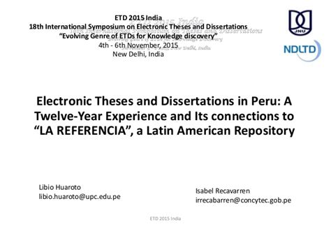 Its A Connection by Electronic Theses And Dissertations In Peru A Twelve Year