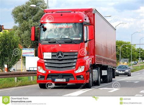 pink mercedes truck mercedes actros editorial stock photo image of