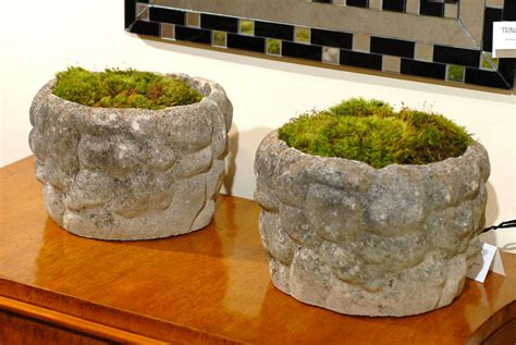 Weathered Cast Stone Planters by Pair Of Planters In Faux Stone Design At 1stdibs