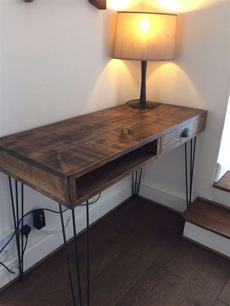 schreibtische retro chunky wood metal hairpin industrial desk table rustic