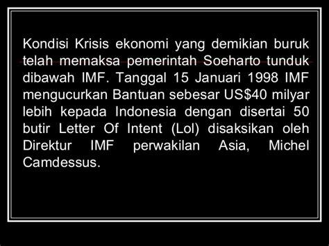 Letter Of Intent Imf Indonesia 1998 Perkembangan Masyarakat Indonesia Menjelang Reformasi