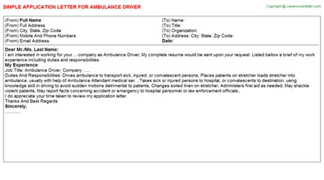 Ambulance Driver Cover Letter by Application Letter For Ambulance Driver 28 Images Sle Resume Ambulance Driver Ambulance