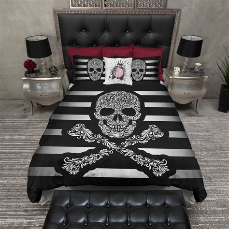 black and white stripe skull and crossbones bedding ink