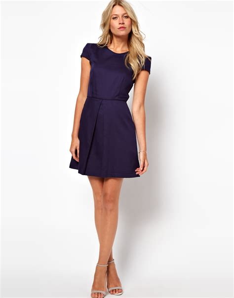 Dress Alina asos aline dress with structured sleeves in blue lyst