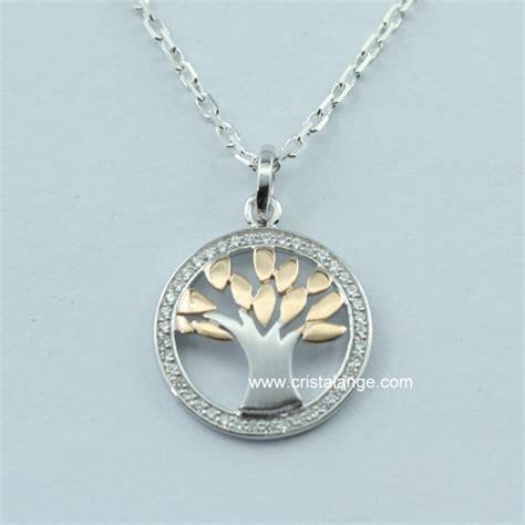 Collier arbre de vie argent zirconium bicolore bijoux Cristalange bijoux kabbale