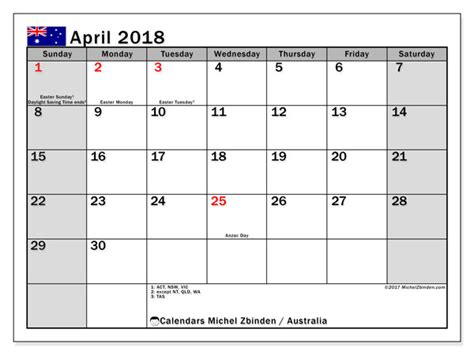 Calendar 2018 April Australia Calendar April 2018 Australia