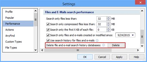 Email Database Search Deleting Search History Databases