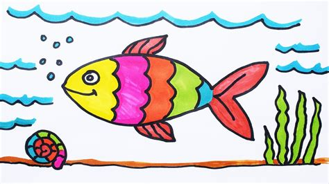 how to color water how to draw fish and coloring fish water for