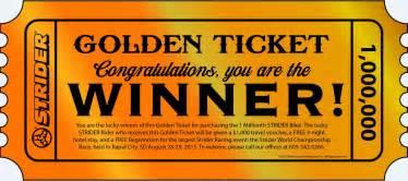 strider celebrates millionth bike sold with golden ticket