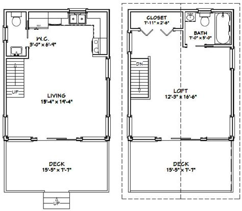 16x20 House 16x20h1 620 Sq Ft Excellent Floor Plans Tiny House Plans 16x20